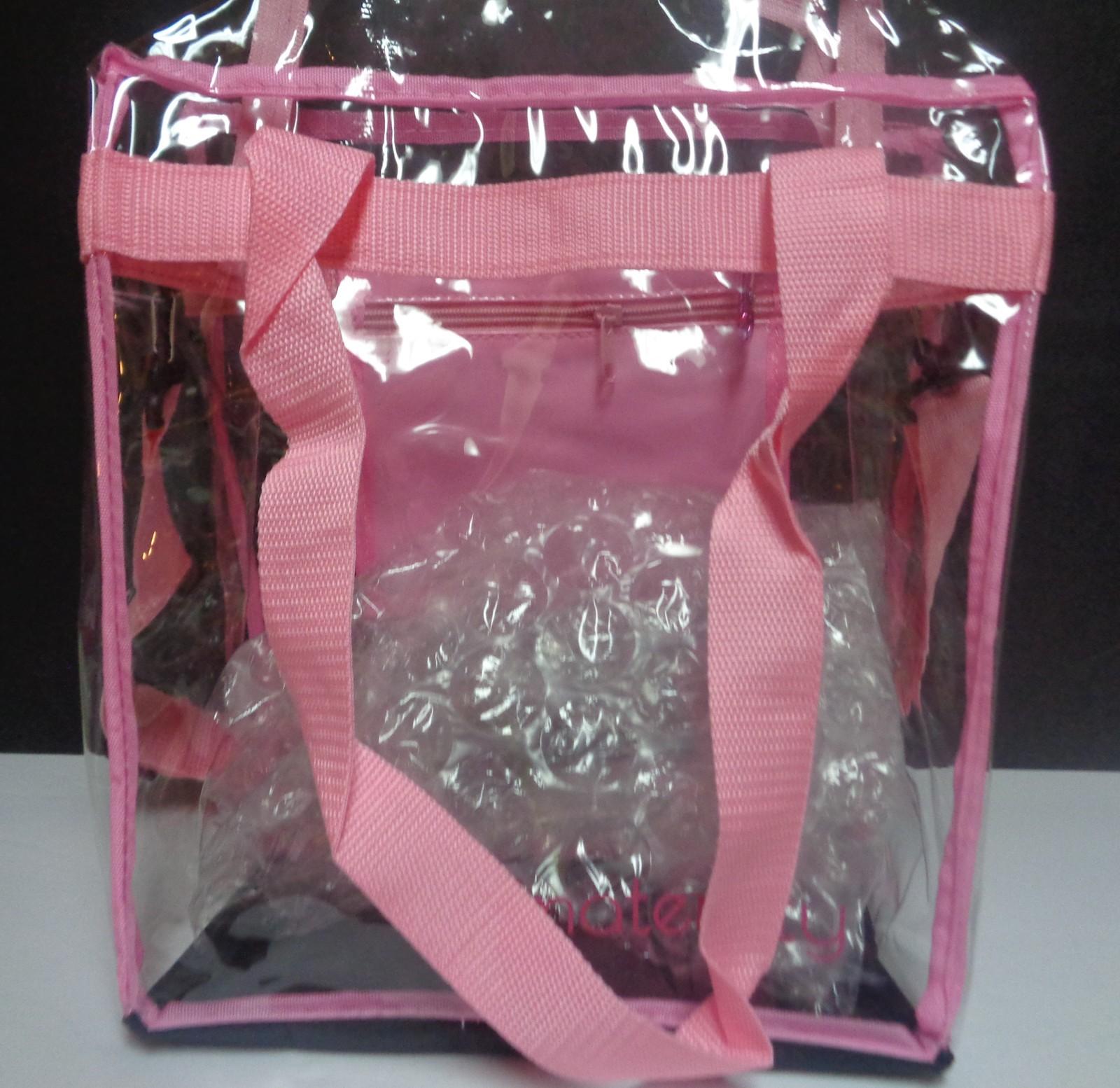 Maternity Bag Clear w/Pink Trim Removable Adj Padded Shoulder Strap NWT