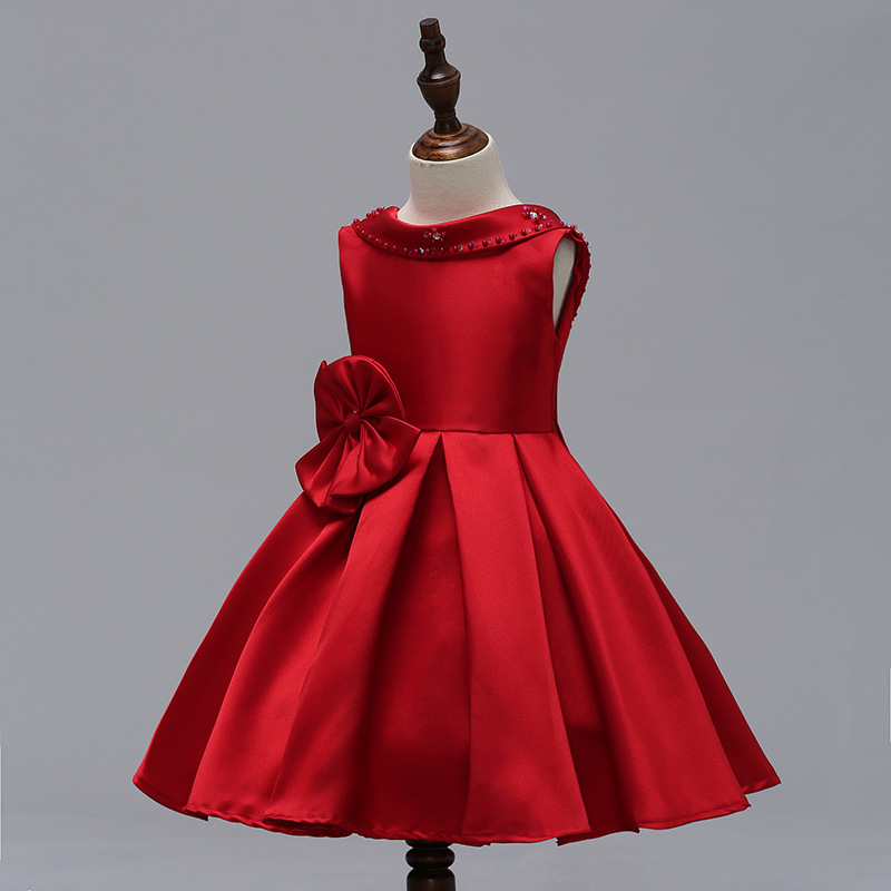 Red Satin Pricess Flower Girl Dress 2019 Cheap Ball Gown Wedding Kid Party Gowns image 5