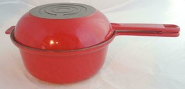 "Vintage Flame Red Le Creuset Enamel Cast Iron #18 2 In 1 Sauce Pan & 8"" ... - $75.99"