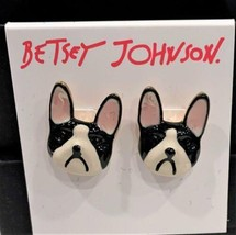 Betsey Johnson Bull Dog Stud Earrings Black & White Bulldog  NEW - $19.79