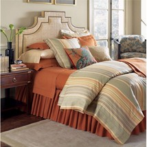Sferra Blake Almond King Sham Striped Cotton Linen Jacquard 600 TC Italy... - $69.00