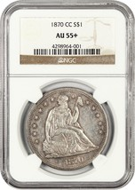 1870-CC $1 NGC AU55+ Rare Carson City Issue - Liberty Seated Dollar - $9,622.40