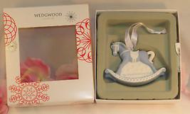 New Wedgwood Blue Jaspeware Baby 1ST First Christmas Rocking Horse Ornament 2016 image 2