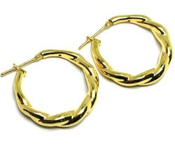 "18K YELLOW GOLD EARRINGS, HOOPS, CIRCLE DIAMETER 26 MM, 1.0"", BRAID, TWISTED image 3"