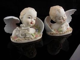 1950's Blue eye Angel figurines - Lefton Japan - lyre Harp - Christmas b... - $95.00