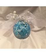 Marble Swirl Hand Painted Turquoise Blue and White Glass Ball Christmas ... - $12.99