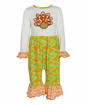 NWT Ann Loren Thanksgiving Turkey Pumpkin Baby Girls Ruffle Romper Jumpsuit - $12.99