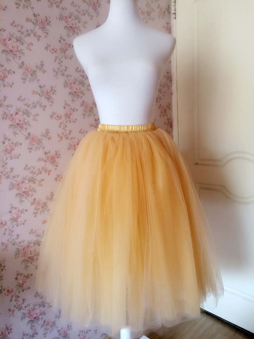 6 Layered Tulle Tutu Skirt Puffy Ballerina Tulle Skirt Apricot Plus Size