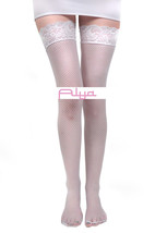 LA-9035 Sexy White Fishnet Stay Up Silicone Lace Top Backseam Line Thigh... - $8.47