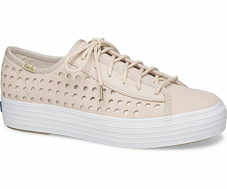 Keds WH59087 Women's Triple Kick Perf Leather Pink shoes, 6 Med