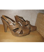 Womens 6 CANDIE'S VINTAGE Brn Faux Leather Heels Shoes CUTE! - $16.76