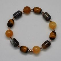 Bracelet in Sterling Silver 925 Laminate Rose Gold with Tiger's Eye Jade Chal... image 6