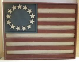 Primitive Country Wood Wall Art Plaque USA Flag Americana Patriotic 13 S... - $29.99