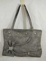 Gray Suede Look Vinyl Handbag With Bow Bling Loop Studs Large NWT - $18.04