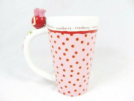 Department 56 Cranberry Pink Red Dots Tall Mug Cup 16 Oz - $16.60