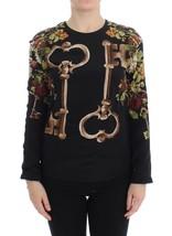Dolce & Gabbana Black Key Floral Print Silk Blouse Top - $574.37