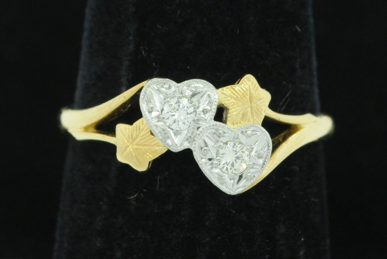 Primary image for Art Nouveaux Style (ca. 1964) 18K Yellow Gold Platinum Floral Ring w/ Diamonds