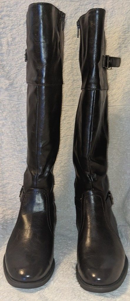 YUU Dark Brown Rocio Knee High Zipper Boots Size 8M Elastic Gore Inserts