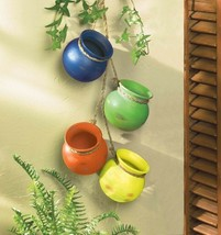 Fiesta Colorful Hanging Terre Cotta Pots Use Indoors or Outdoors - $14.80