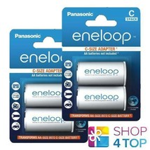 4 Panasonic Eneloop Battery Adapter Aa R6 To C R14 Size Converter Spacer Case - $9.00