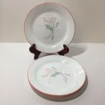 "4 Salad Plates Corelle Corning Pastel Ballet 7.25"" Pink Flower - $19.34"