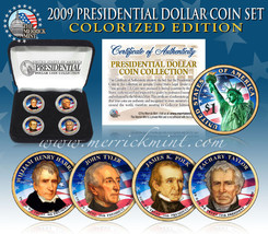 2009 USA COLORIZED PRESIDENTIAL $1 DOLLAR 4 COINS SET Gift Box Certified - $21.03