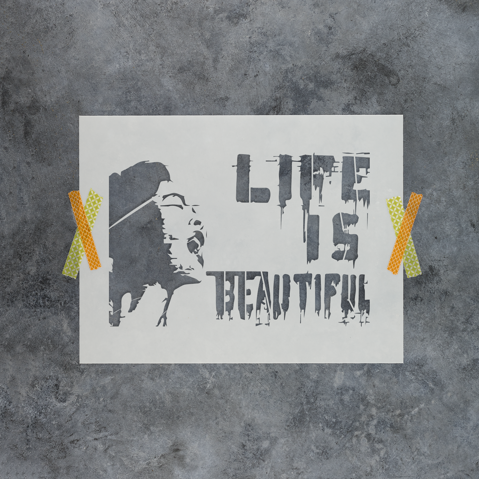 Life is Beautiful Banksy Stencil - Reusable Stencils of Life is Beautiful