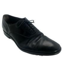 Salvatore Ferragamo Shoes Mens 10.5 2E Black Leather Lace Up Cap Toe SR1 - $186.77