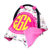 Personalized Baby Girl Pink Cow Car Seat Cover - $52.99