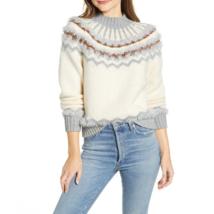 Lou & Grey Womens Cream Grey Mock Neck Fair Isle Sweater New XS - $46.34