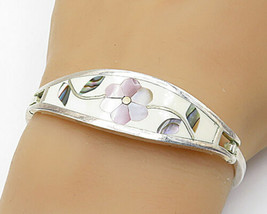 925 Sterling Silver - Vintage Mother Of Pearl & Abalone Cuff Bracelet - ... - $46.85