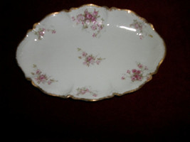 "ANTIQUE  GDA  Limoges FRANCE 9"" oval relish dish  plate-PINK Flowers 100... - $34.00"