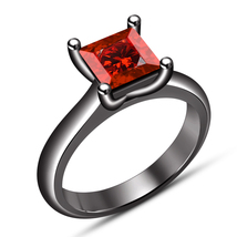Solitaire Wedding Ring Red Garnet Princess Cut Black Gold Over Pure 925 ... - $71.88