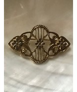 Estate Victorian Style Scalloped Floral Goldtone Pin Brooch – 1.75 x 1 and 1/8th - $8.59