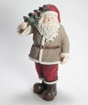 "7.5"" Tall Santa Claus Figurine w/Tan Coat & Red Hat Holding Christmas Tree - $18.76"