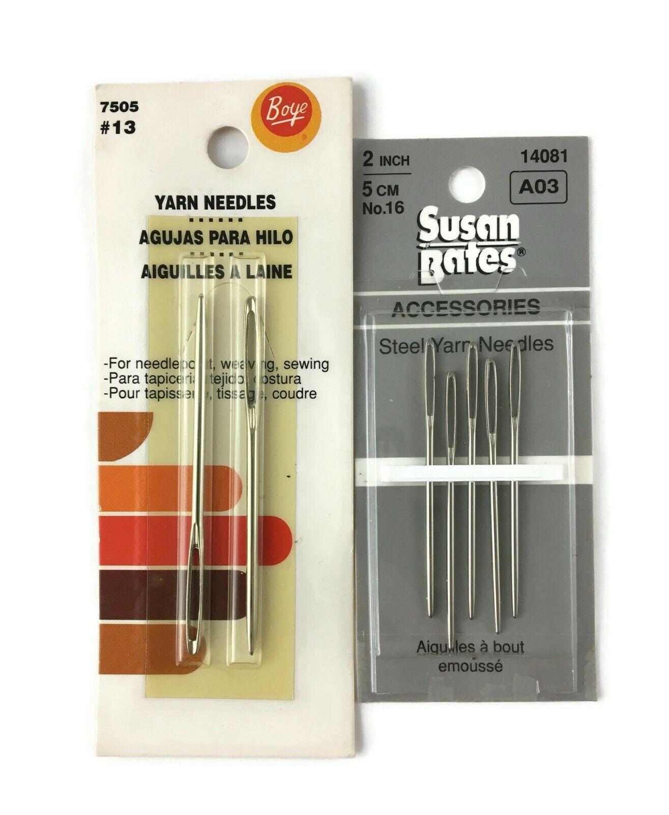Lot of 7 NOS STEEL YARN NEEDLES 2 & 2.5 INCHES Boye #13 SUSAN BATES #16 Knitting - $14.84