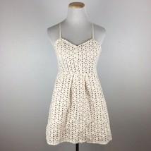 Pins & Needles Anthropologie Women's Cream Lace Eyelet Spaghetti Strap Dress Sz2 - $14.84