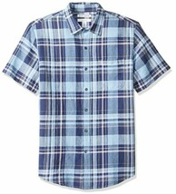 Essentials Men's Slim-Fit Short-Sleeve Linen Cotton, Navy Plaid, Size XS