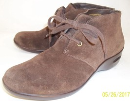 COLE HAAN Womens US 9AA Brown Suede Waterproof Lace-Up Casual Wedge Ankl... - $46.50