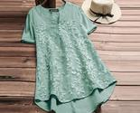 Nzea summer blouse elegant women embroidery v neck short sleeve shirt casual solid thumb155 crop