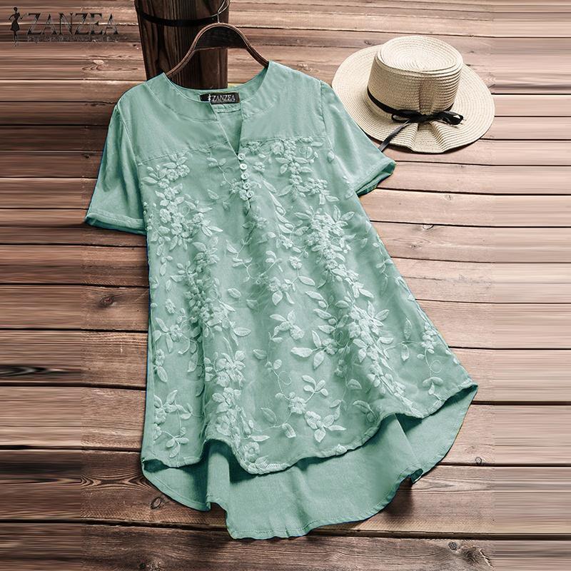 S size 2018 zanzea summer blouse elegant women embroidery v neck short sleeve shirt casual solid