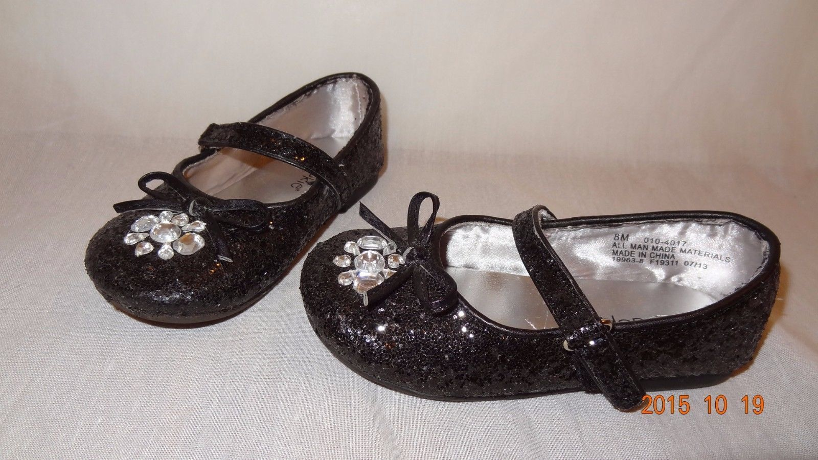 Black Dress Shoes Rhinestone Sparkly Size Toddler 8M Okie Dokie 2013 Mary Janes