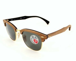 Ray Ban Sun Clubmaster Wood RB3016M 118158 Walnut & Gold w/Green Polariz... - $352.76