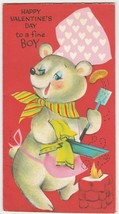 Vintage Valentine Card Bear Chef Cooks Glitter Forget Me Not 1960's - $9.89