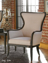 "NEW 30"" WOVEN FABRIC WING BACK ACCENT ARM CHAIR WEATHERED BLACK WOOD FRAME - $877.80"