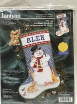 "Christmas Stocking Kit Counted Cross Stitch Janlynn Snowman Holiday 17"" New Vtg - $50.49"