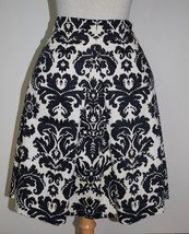 New Ann Taylor Loft 10P Skirt Black White Damask Pleated Cotton A-Line Lined - $20.56