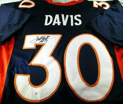 TERRELL DAVIS / NFL HALL OF FAME / AUTOGRAPHED BRONCOS BLUE CUSTOM JERSEY / COA image 1