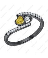 Heart Shaped Yellow Sapphire & Diamond 14k Black Gold Over Double Heart ... - $89.99