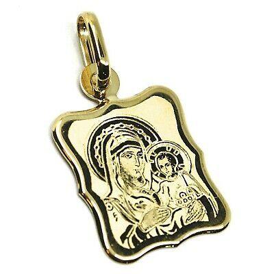 Médaille Ondulés, or Jaune 750 18K, Vierge Marie, Jérusalem, Rectangulaire